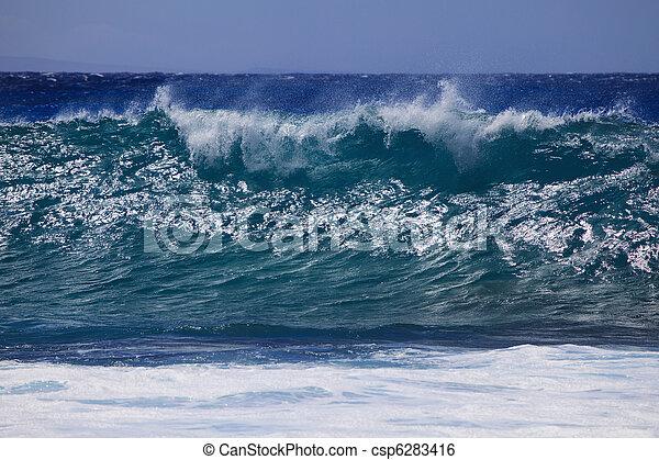 surf surges against Oahu shore - csp6283416