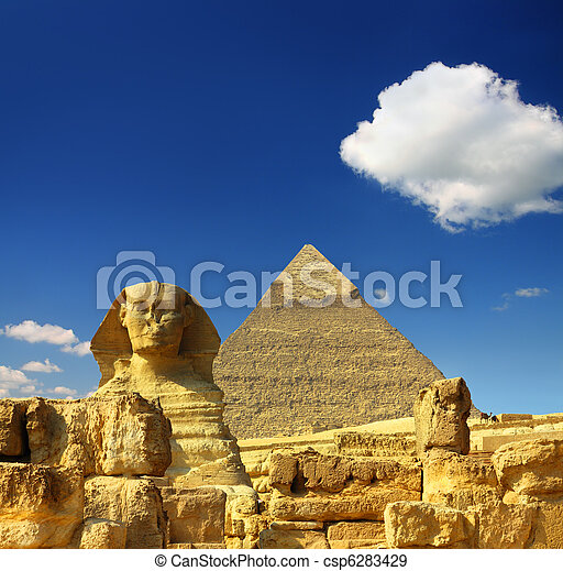 egypt Cheops pyramid and sphinx - csp6283429