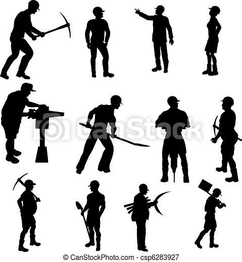 Construction Worker Silhouettes  - csp6283927