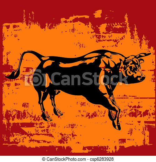 Grunge Bull Background  - csp6283928