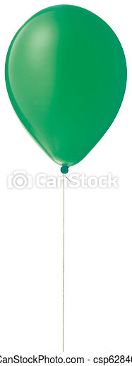 green helium balloon on a string isolated with a clipping path - csp6284054