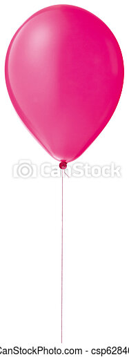 pink helium balloon on a string isolated with a clipping path - csp6284073