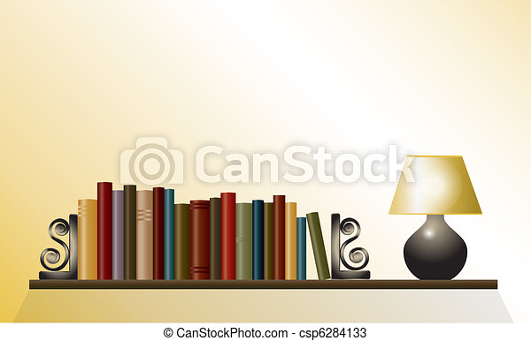 Book shelf with lamp - csp6284133