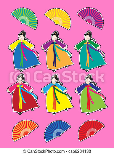 Korean dancer stickers - csp6284138