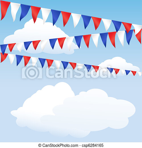 Red, white and blue bunting - csp6284165