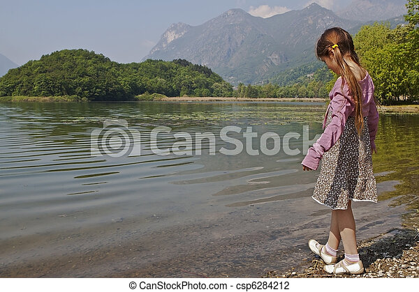 girl at tarn - csp6284212