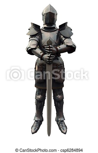 Fifteenth Century Knight with Sword - csp6284894