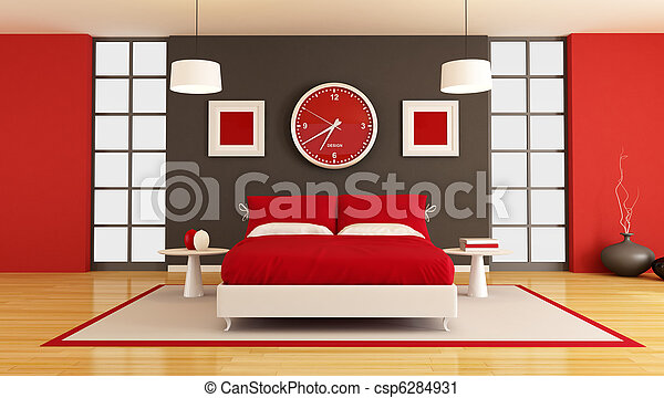 contemporary bedroom - csp6284931