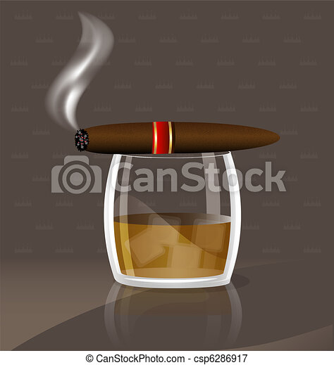 whiskey and cigar - csp6286917