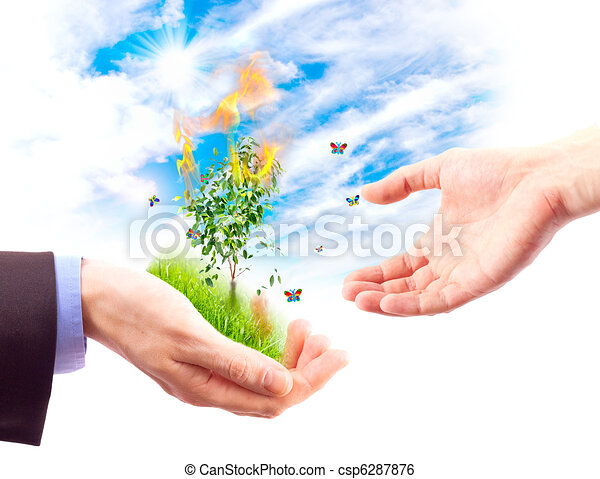 Nature Hand Drawing Concept of Saving Nature From