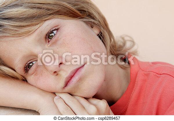 sad unhappy child crying tears - csp6289457