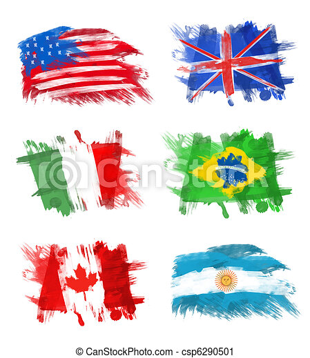 Flags - America, England, Italy, Brazil, Canada and Argentina - csp6290501