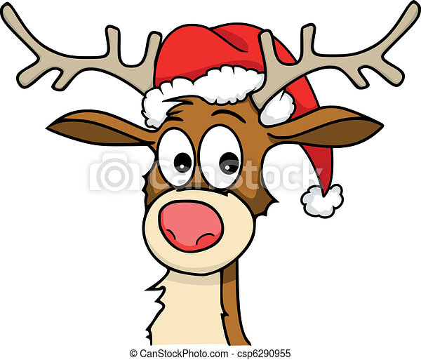 Clipart Vector of rudolph - Reindeer with christmas hat on. csp6290955 ...