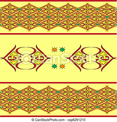 The sample of ornaments of different nations of the world, geometrical figures  - csp6291210