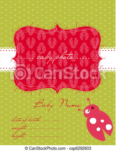 Baby Arrival Card with Photo Frame - csp6292603