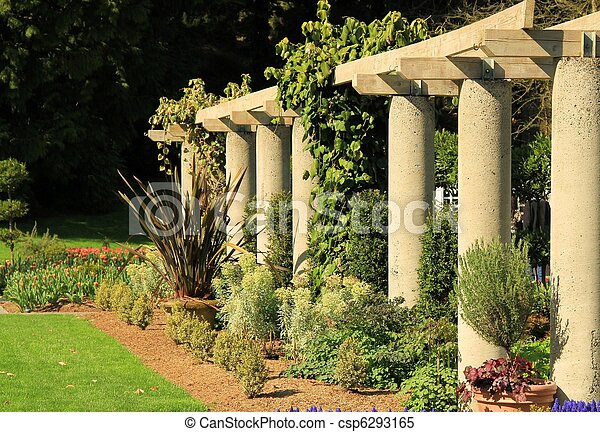 Stock Images of Garden Columns A row of Cement Columns in a