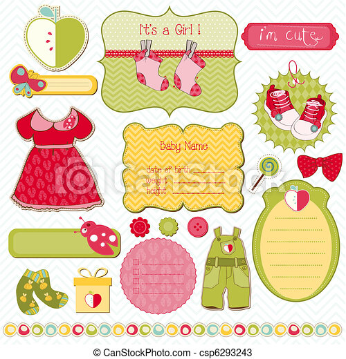 Design Elements for Baby scrapbook - easy to edit - csp6293243