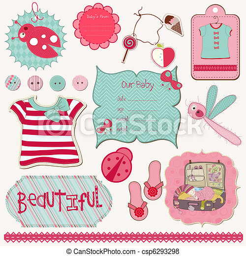 Design Elements for Baby scrapbook - easy to edit - csp6293298