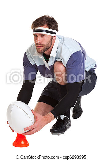 Rugby player cut out on white - csp6293395
