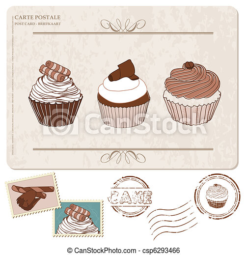 Set of cupcakes on old postcard, with stamps - for design and scrapbooking - csp6293466