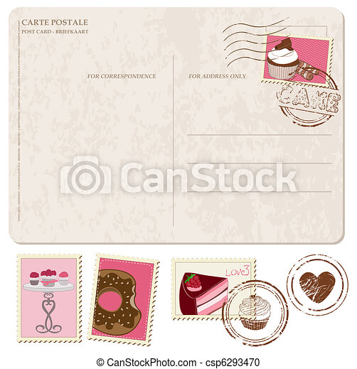 Set of cupcakes on old postcard, with stamps - for design and scrapbooking - csp6293470