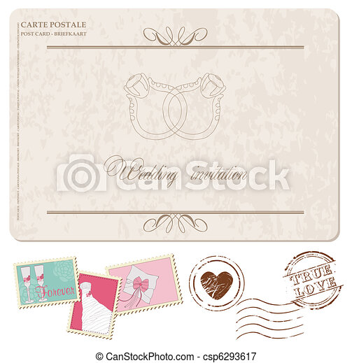 Retro Wedding Invitation postcard with stamps for design and scrapbook