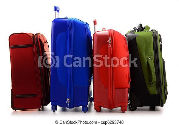 Luggage consisting of large suitcases isolated on white - csp6293748