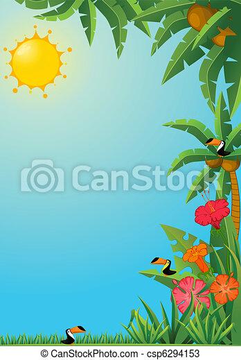 tropical plants and parrots. - csp6294153