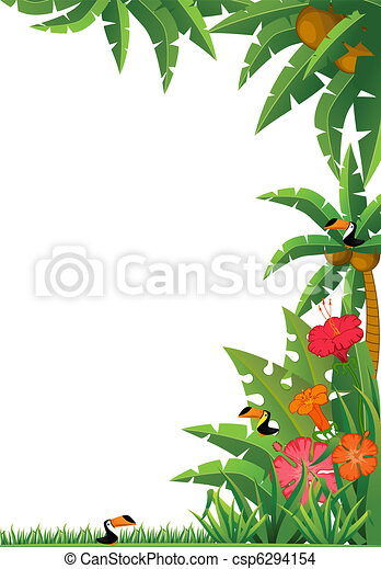 tropical plants and parrots. - csp6294154