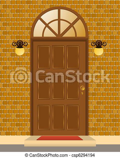 Facade of house with door - csp6294194