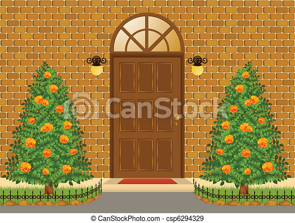 Facade of house with door - csp6294329