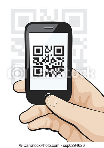 Mobile phone in male hand scanning qr code - csp6294626