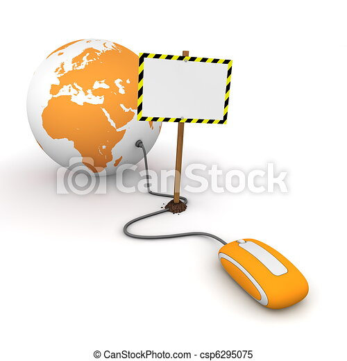 orange computer mouse is connected to a orange globe - surfing and browsing is blocked by a white rectangular sign that cuts the cable - empty template with yellow and black warning stripes - csp6295075