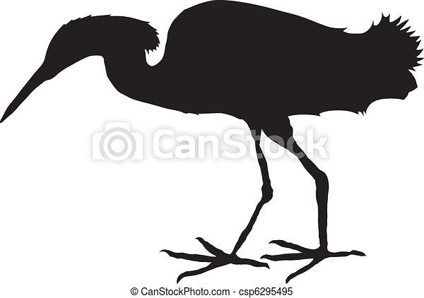 silhouette of egret - csp6295495