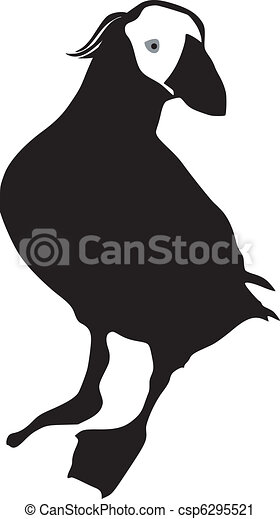Vector Clip Art of Tufted Puffin - silhouette of Tufted Puffin ...