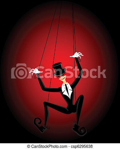court jester holds a marionette - csp6295638