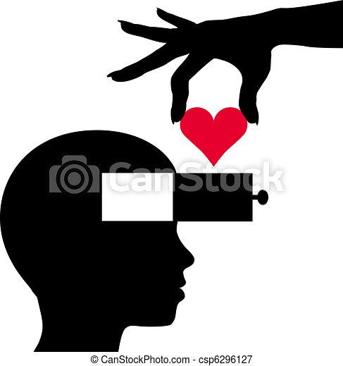 Heart into person head thinking love romance - csp6296127