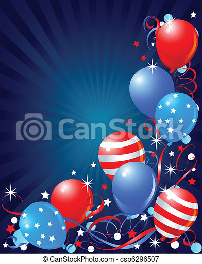 Balloons card for Fourth of July - csp6296507