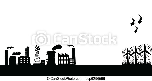 Industrial buildings with wind turbines - csp6296596