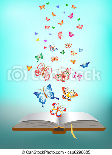butterfly flying around the book - csp6296685