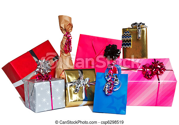 Group of gift presents cut out - csp6298519