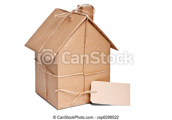 House wrapped in brown paper cut out - csp6298522