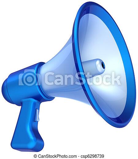 bleu, communication, porte voix - csp6298739