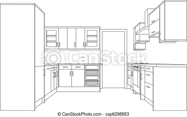 Drawing of a Fitted Kitchen - csp6298853