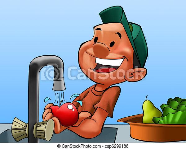 Menino, lavando, algum, frutas - csp6299188
