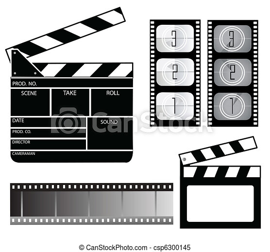 Clipart Vector of Movie clapper board and filmstrip csp6300145 ...