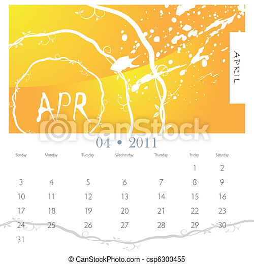 April Grunge Vine Calendar - csp6300455