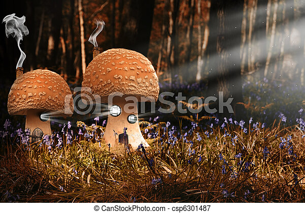 Fantasy image of toadstool houses in bluebell woods - csp6301487