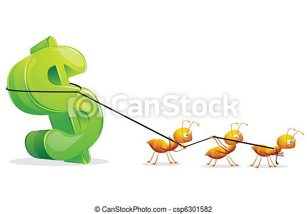 Ants dragging Dollar - csp6301582