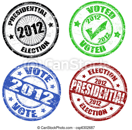 Set of presidential election grunge stamps - csp6302687